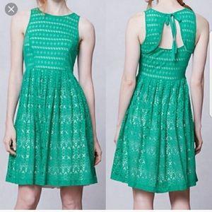 Anthropologie Green Postmark Sunstream Dress